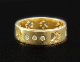 Ring mit 3 Zirkonias & Pfoten: GMH-401sp