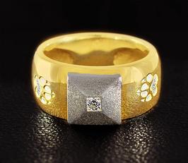 Ring mit Pyramide & 2 Pfoten: GMH-305sg