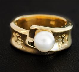 Ring mit 2 Pfoten & Perle: GMH-344gp
