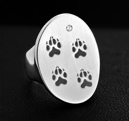Gewölbter ovaler Ring mit 4 Pfötchen : GMH-254s