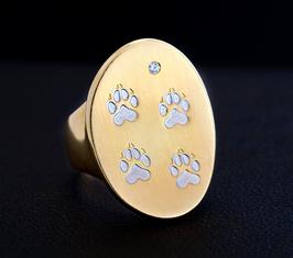 Gewölbter ovaler Ring mit 4 Pfötchen : GMH-254sg