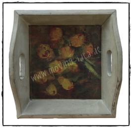 """Tablett mit Malerei """"Blumen III"""""""
