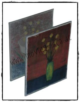 Teelichthalter Malerei Blumen I