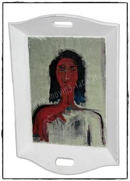 "Shabby Chic Tablett XXL ""Portrait III"""