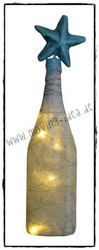 Dekoflasche in Hellblau mit Goldfäden