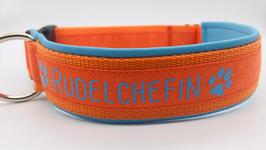 Halsband Rudelchefin mittelblau/orange