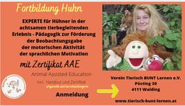 EXPERTE für Hühner in der tierbegleitenden Erlebnispädagogik - Praxis Webinar  AAE