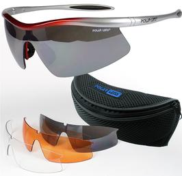 POLARLENS SERIES S26 Sonnenbrille / Radbrille / Sportbrille / Triathlon + Wechselgläser + Gürteltasche