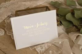 """Karte """"Mein Schatz, heute machst Du mich zur glücklichsten Frau der Welt!"""" (Goldglanz-Optik)"""