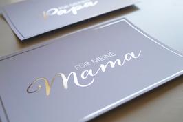 """Karte """"Für meine Mama"""" mit Silberglanz-Optik"""