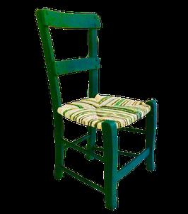 Petite chaise paillée ancienne, peinte en vert tonique. Tons verts, turquoise, écru, bleus.