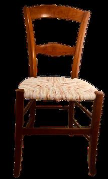 Ancienne chaise paillée. Tons écru, roses poudrés, verts.