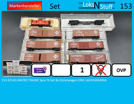 153 ATLAS MICRO TRAINS Spur N Set 8x Güterwagen ERIE LACKAWANNA