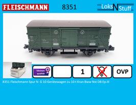 8351 Fleischmann Spur N  G 10 Gerätewagen zu 10 t Kran Bww Nst DB Ep.III