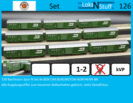 126 Bachmann Spur N Set 9x BOX CAR BURLINGTON NORTHERN BN