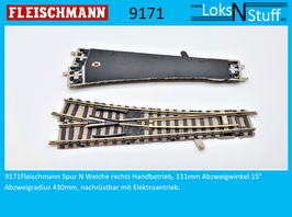 9171 Fleischmann Weiche rechts Handbetrieb,  111 mm Abzweigwinkel 15° Abzweigradius 430mm