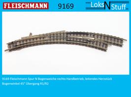 9169 Fleischmann Spur N Bogenweiche rechts Handbetrieb, leitendes Herzstück