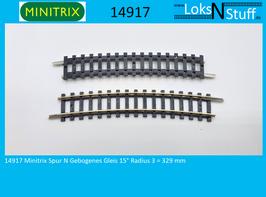 14917 Minitrix Spur N Gebogenes Gleis 15° Radius 3 = 329 mm