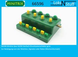 66596 Minitrix Spur N/H0 Vierfach-Drucktastenschalter grün