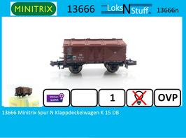 13666 Minitrix Spur N Klappdeckelwagen K 15 DB