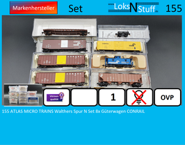 155 ATLAS MICRO TRAINS Walthers Spur N Set 8x Güterwagen CONRAIL