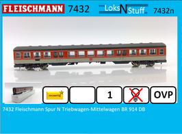 7432 Fleischmann Spur N Triebwagen-Mittelwagen BR 914 DB