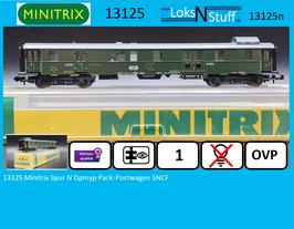 13125 Minitrix Spur N Dpmyp Pack-Postwagen SNCF