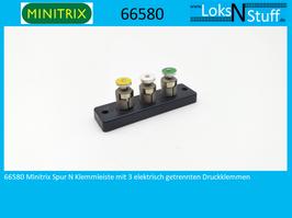 66580 Minitrix Spur N Klemmleiste mit 3 elektrisch getrennten Druckklemmen