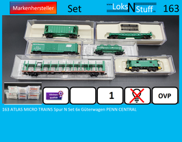 163 ATLAS MICRO TRAINS Spur N Set 6x Güterwagen PENN CENTRAL