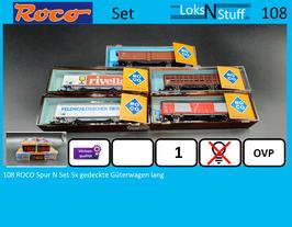 108 ROCO Spur N Set 5x gedeckte Güterwagen lang