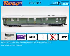 006283 ROCO Spur N  DC Bahnpostwagen Schürzenwagen DBP Ep.III