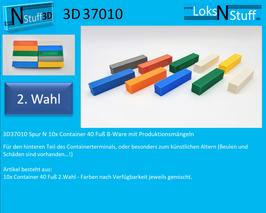 3D37010 Spur N 10x Container 40 ft B-Ware mit Produktionsmängeln