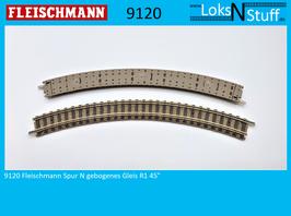 9120 Fleischmann Spur N gebogenes Gleis R1 45°