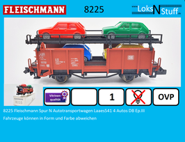 8225 Fleischmann Spur N Autotransportwagen Laaes541 4 Autos DB Ep.III