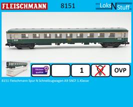 8151 Fleischmann Spur N Schnellzugwagen A9 SNCF 1.Klasse