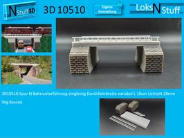 3D10510 Spur N Bahnunterführung eingleisig Durchfahrbreite variabel L 10cm LichteH 28mm