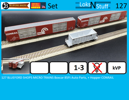127 BLUEFORD SHOPS MICRO TRAINS Boxcar 85Ft Auto Parts, + Hopper CONRAIL