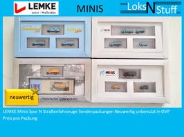 LEMKE Minis Spur N Straßenfahrzeuge EXCLUSIV EDITION Autos neuwertig unbenutzt in OVP
