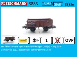 8883 Fleischmann Spur N Hochbordwagen Omk[u] K.Bay.Sts.B.