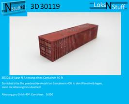 3D30119 Spur N Alterung eines Container 40 ft