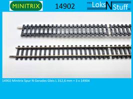 14902 Minitrix Spur N Gerades Gleis L 312,6 mm = 3 x 14904