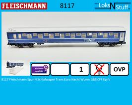 8117 Fleischmann Spur N Schlafwagen Trans Euro Nacht WLAm SBB CFF Ep.IV