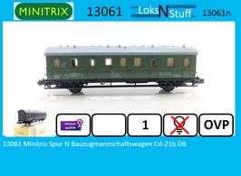 13061 Minitrix Spur N Bauzugmannschaftswagen Cd-21b DB