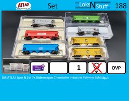 188 ATLAS Spur N Set 7x Güterwagen Chemische Industrie Polymer Schüttgut