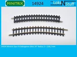 14924 Minitrix Spur N Gebogenes Gleis 24° Radius 2 = 228,2 mm