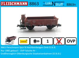 8863 Fleischmann Spur N Hochbordwagen Omk O.St.B.
