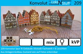 209 Konvolut Spur N Gebäude Altstadt Fachwerk + 6 Leuchten