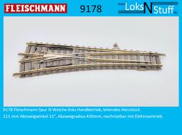 9178 Weiche links Handbetrieb, leitendes Herzstück, 111 mm Abzweigwinkel 15°