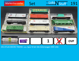191 ATLAS MICRO TRAINS  u.a. Spur N Set 10x Güterwagen MIX USA