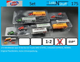 175 MiniMetals Spur N Set 6x US-Trucks MID-STATES, CHICAGO EXPRESS, HENNIS